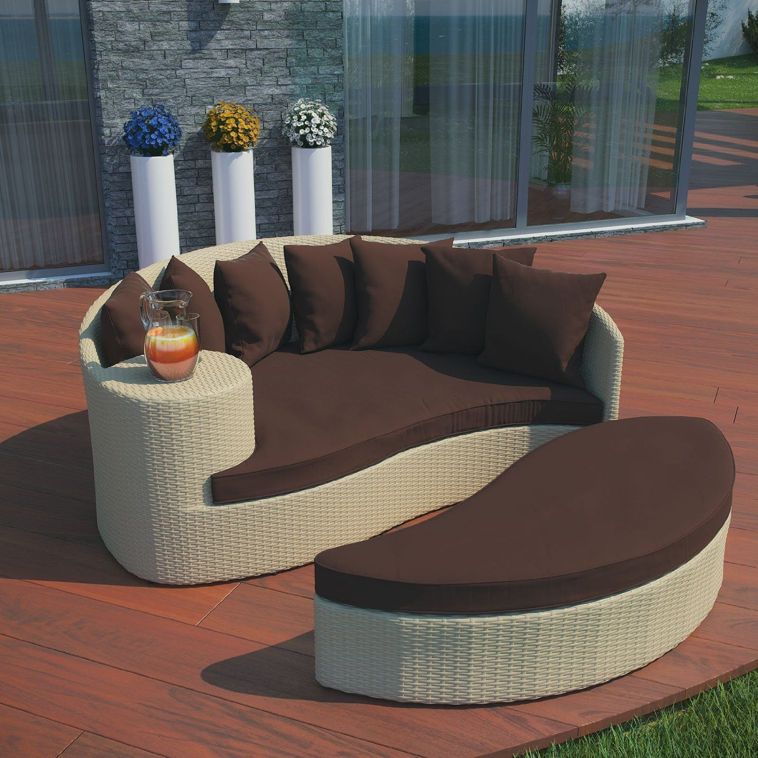 Modern LexMod Taiji Outdoor Wicker Patio Daybed W/ Ottoman Tan w/ Brown  Cushions - $1,954.75