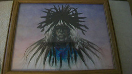 COMANCHE WARRIOR WITH FEATHERS BLUE, FRAMED PRINT by TIM SAUPITTY FROM 1995 - $118.79
