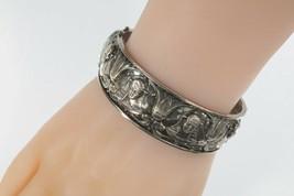 Vintage Argento Sterling Faraone Egiziano Fiore di Loto Serpente Braccia... - $485.32