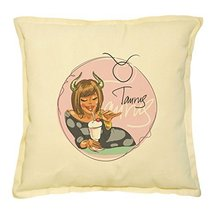 Vietsbay's Taurus Zodiac Sign-2 Prints Khaki Decorative Pillows Case VPL... - $13.59