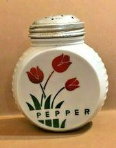 DEPRESSION GLASS- ANCHOR HOCKING VITROCK RANGE SET RED TULIPS PEPPER SHAKER - $34.95