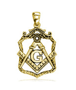 Large Open Masonic Initial G Charm in 18k Yellow Gold - $1,155.00