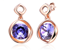 Rose Gold Color Stud Earrings with Stones Cubic Zircon Earnings - $9.99