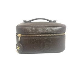 Vintage CHANEL dark brown caviar leather cosmetic and toiletry bag, party vanity - $722.00
