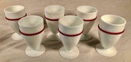 6 Vtg Westmoreland 8 Oz Goblets Milk Glass W/ Red Beaded Trim Depression Glass - $74.24