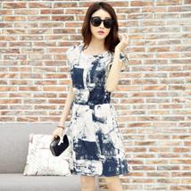 PF026 Elegant A-line blouse w water color print,lnen, Size M-5XL, blue - $28.80