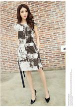 PF026 Elegant A-line blouse w water color print,lnen, Size M-5XL, grey - $28.80