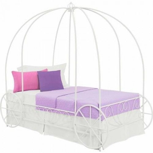 Twin Princess Carriage Bed Metal Frame Canopy Girls Pink Bedroom Furniture Bedroom Furniture