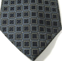ROBERT TALBOT Best of Class Rich Black Green Blocks Geometric Tie 100% Silk - $99.99