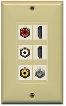 RiteAV - (1 Gang Decorative) Composite Video 2 HDMI Ivory Coax Ivory Wall Plate - $31.46