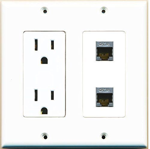 RiteAV - (2 Gang Decorative) 15 Amp 125V Power Outlet 2 Cat6a Wall Plate - $16.64