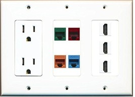 RiteAV  3 Gang 15A Power Outlet 3 HDMI Cat5e Blue Green Orange Red Wall Plate - $46.26