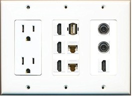 RiteAV  3 Gang 15A Power Outlet 4 HDMI 2 Cat6 White 2 3.5mm USB A A Wall Plate - $60.15