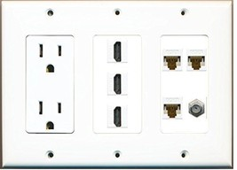 RiteAV  3 Gang 15A Power Outlet 3 HDMI Coax 3 Cat6 White Wall Plate White - $48.11