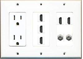RiteAV  3 Gang 15A Power Outlet 5 HDMI 2 Coax Wall Plate White - $48.11
