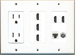 RiteAV  3 Gang 15A Power Outlet 5 HDMI Coax Cat5e Wall Plate White - $49.05
