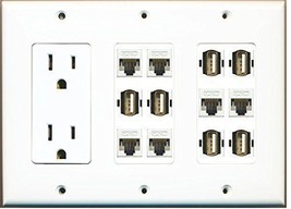 RiteAV  3 Gang 15A Power Outlet 6 Cat5e White 6 USB A A Wall Plate White - $69.41