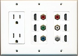 RiteAV  3 Gang 15A Power Outlet 6 HDMI Coax Component Video RCA White Wa... - $74.03