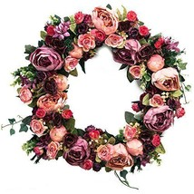 Pretty Pink Peach Burgundy Silk Rose Flower Floral Home Decor Wall Door ... - $95.57