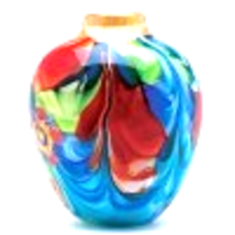Floral Fantasia Art Glass Vase - $62.35