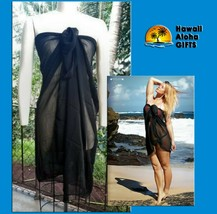 NEW BLACK BEACH COVER UP SARONG SHORT SOFT POLY WRAP PAREO BIKINI SKIRT ... - $9.47