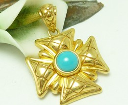 Veronese 18K Yellow Gold Bonded Sterling Maltese Cross Gold Turquoise Pe... - $72.00