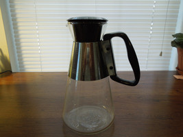 "Pyrex Silex Mid Century Modern Hot or Cold vintage Carafe 6 cup ""D"" handle - $35.63"