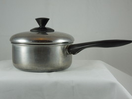 VINTAGE  Revere Ware stainless steel 1 1/2 quart pot with lid aluminum b... - $13.09