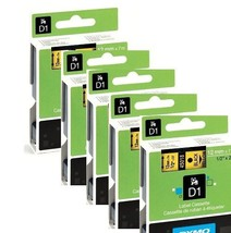DYMO 45018  Self Adhesive D1 Tape for Label Maker Black on Yellow 5 PACK - $38.92 CAD