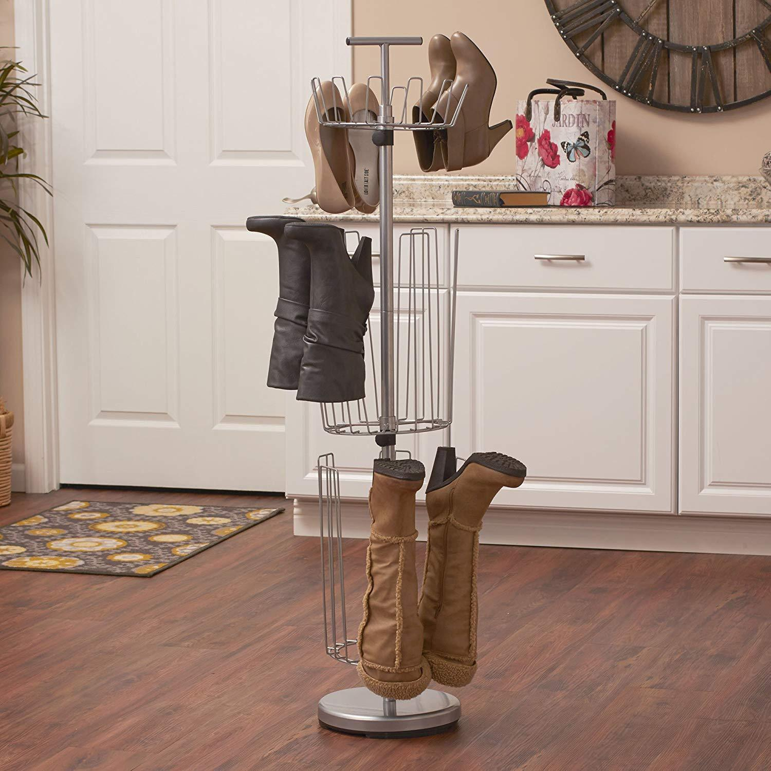 Metal Shoe Tree Boot Shapers Adjustable 12 Pair 6 Holder Support Stand Storage