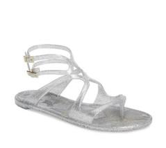 NIB Jimmy Choo Lance Silver Metallic Glitter Rubber Jelly Sandals 7 37 New - $194.66