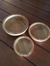 """OLIVE WOOD NESTING BOWLS New Set Of 3 OliveWood Nesting Bowls 3""""-5"""" - $18.76"""