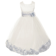 Ivory Satin Bodice Layers Tulle Skirt Silver Flower Ribbon Brooch and Petals - $48.00