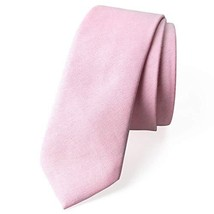 Spring Notion Men's Solid Color Chambray Cotton Skinny Tie, Pink image 1