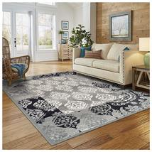 Modern Mystique Black & Gray Damask Pattern 4'x 6' Area Rug Water Repellent - $54.95