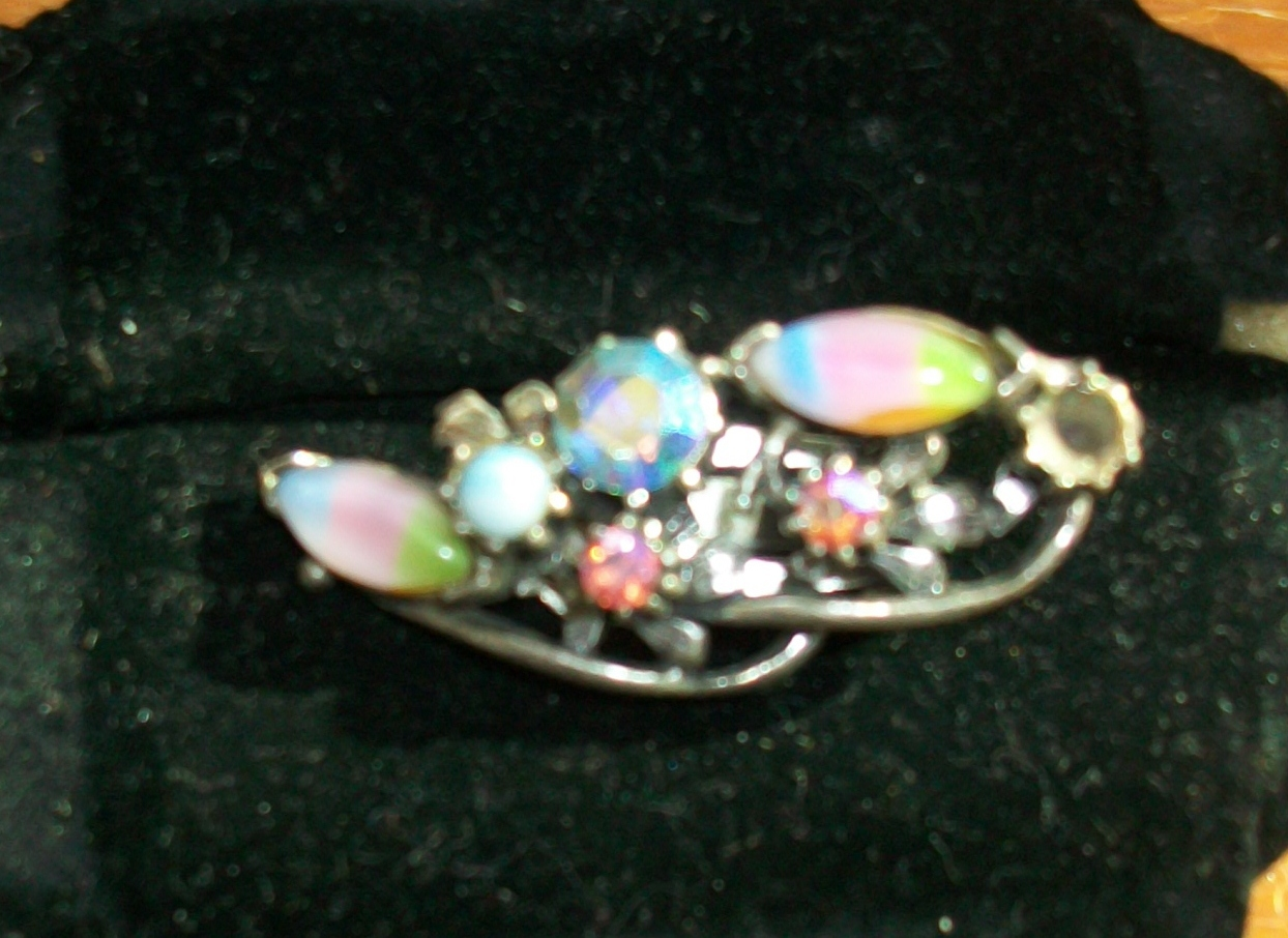 Opalescent Vintage Rhinestone Earrings - Clip-on