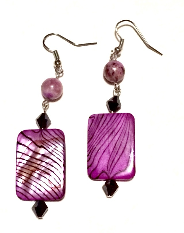 Purple Dyed Black Striped Shell with Jasper Black Crystal Beads Dangle Earrings
