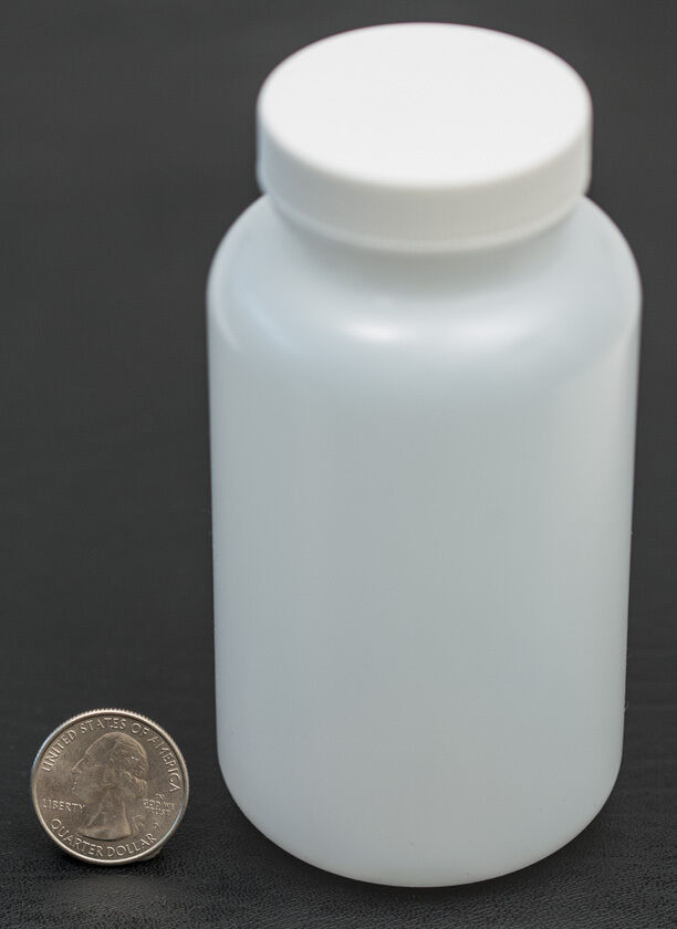 Primary image for 8oz 240ml Wide Mouth HDPE Bottle Jar with White Polyethylene Lined Cap LOT OF 12
