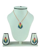 Womens Trendz Designer Pendant Paper Quilled Necklace Set - $32.00
