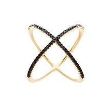 18K YELLOW GOLD VERMEIL-Pave 5A Black Cubic Zirconia Open X Knuckle Ring... - $49.99