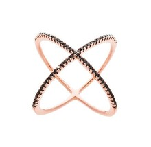 18 K Rose Gold Vermeil Pave 5 A Black Cubic Zirconia Open X Knuckle Ring 925/Ss - $49.99