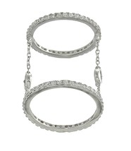 18K WHITE VERMEIL-Pave+Bezel 5A Cubic Zirconia Layered Chain Knuckle Ring - $49.99