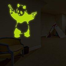 "( 63"" x 63"" ) Banksy Glowing Vinyl Wall Decal Panda with Pistols / Glow in Da... - $220.76"