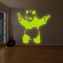 "( 87"" x 87"" ) Banksy Glowing Vinyl Wall Decal Panda with Pistols / Glow in Da... - $405.89"