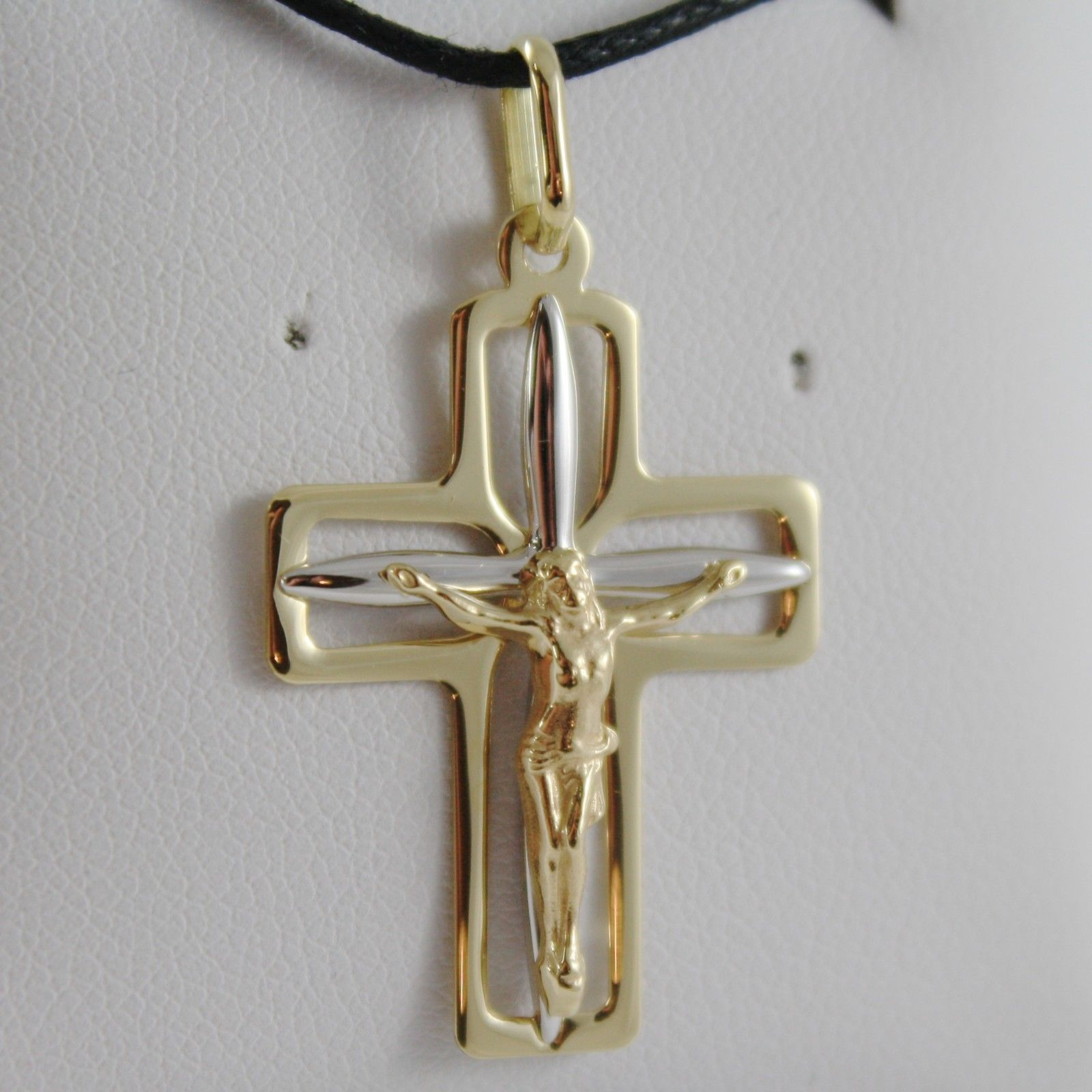 18K YELLOW WHITE GOLD CROSS WITH JESUS SMOOTH STYLIZED SQUARED MADE IN ITALY
