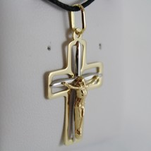 18K YELLOW WHITE GOLD CROSS WITH JESUS SMOOTH STYLIZED SQUARED MADE IN ITALY image 2