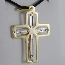 18K YELLOW WHITE GOLD CROSS WITH JESUS SMOOTH STYLIZED SQUARED MADE IN ITALY image 3