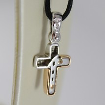 18K ROSE WHITE GOLD CROSS SQUARED STYLIZED SMOOTH SATIN 0.87 INCH. MADE IN ITALY image 3