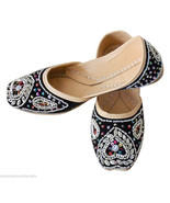 Women Shoes Indian Handmade Black Leather Traditional Oxfords Jutties US... - $29.99