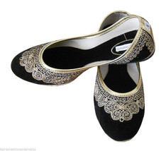 Women Shoes Indian Handmade Leather Traditional Ballerinas Black Mojari ... - £19.27 GBP